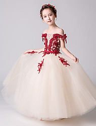 cheap -Princess / Ball Gown Floor Length Wedding / Party Flower Girl Dresses - Tulle Short Sleeve Off Shoulder with Beading / Appliques