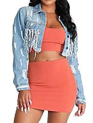 cheap -showno women's tassels classic ripped cropped backless denim jacket coat light blue s
