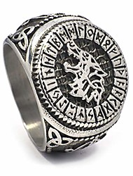 cheap -Fenrir Wolf Odin Rune Circle Triquetra Celtic Stainless Steel Ring Men Women Norse Protection Jewelry