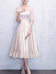 cheap -A-Line Off Shoulder Tea Length Lace / Satin Bridesmaid Dress with Pleats / Bandage
