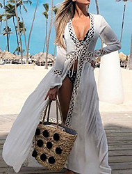 cheap -2020 Bikini Cover-ups Sexy Hollow Out White Cotton Tunic Summer Dress Women Beach Wear Swimsuit Cover Up