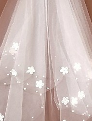 cheap -Two-tier Cute Wedding Veil Fingertip Veils with Beading / Appliques 23.62 in (60cm) Lace