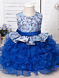 cheap -Ball Gown Knee Length Wedding / Event / Party Flower Girl Dresses - Tulle / Polyester Sleeveless Jewel Neck with Sash / Ribbon / Bow(s) / Tier