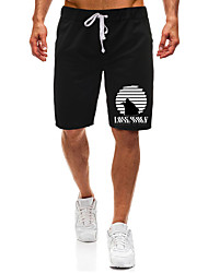 cheap -Men's Casual / Sporty Athleisure Daily Gym Shorts Pants Stripe Letter Short Pocket Elastic Drawstring Design Print Black Light Grey