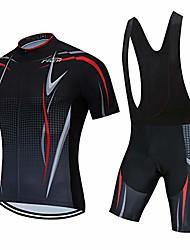 cheap -men's cycling jersey bib shorts black sets bike clothing short sleeve