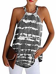 cheap -women's tie dye halter tank tops stripe flowy cami shirts sleeveless sexy tunic blouse grey 3xl