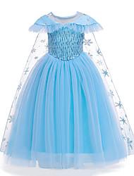 cheap -Princess Frozen Elsa Dress Party Costume Flower Girl Dress Girls' Movie Cosplay Cosplay Costume Party Blue Dress Cloak Halloween Children's Day Masquerade Polyester