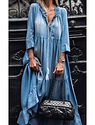 cheap -Women's Denim Dress Maxi long Dress Black Light Blue 3/4 Length Sleeve Solid Color Pocket Patchwork Spring Summer V Neck Chic & Modern Casual 2021 S M L XL XXL