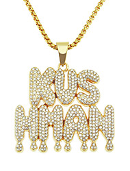 cheap -Men's Necklace Letter Trendy Alloy Gold 75 cm Necklace Jewelry For Festival