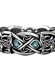 cheap -shiysrl exquisite jewelry ring love rings vintage men women silver plated faux topaz inlaid wolf ring party jewelry gift wedding band best gifts for love with valentine's day - silver black us 10
