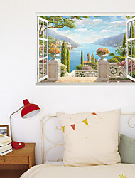 cheap -Stickers Can Be Removed For The Home Background Decoration Of 3D Fake Window Seaside View Room 60*90cm