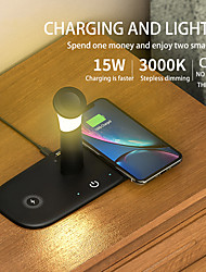 cheap -15W 5 in 1 QC3.0 Wireless Charger Fast Charging Charger With Lamp Wireless Charger Fast Charging For iPhone 12 11 Samsung S21 Air pods Apple Watch 6 5 4 Oneplus 9 Wireless Charger with Night Light