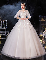 cheap -Princess Ball Gown Wedding Dresses V Neck Floor Length Lace Tulle Half Sleeve Formal Romantic with Appliques 2021