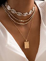 cheap -Choker Necklace Pendant Necklace Torque Women's Tennis Chain Cubic Zirconia White Imitation Diamond Artistic Simple Fashion Vintage Trendy Gold Silver 45,45,47 cm Necklace Jewelry 4pcs for Street