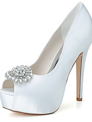 cheap -Women's Wedding Shoes Stiletto Heel Peep Toe Wedding Pumps Satin Rhinestone Solid Colored White Black Purple