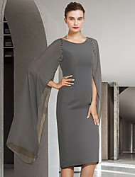 cheap -Sheath / Column Mother of the Bride Dress Elegant Jewel Neck Knee Length Chiffon Long Sleeve with Beading 2021