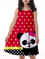 cheap -Kids Little Girls' Dress Animal Print Red Knee-length Sleeveless Flower Active Dresses Summer Regular Fit 5-12 Years