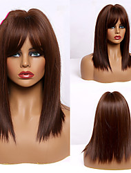 cheap -Synthetic Wig Natural Straight Bob Middle Part Wig 14 inch Dark Brown Synthetic Hair Women's Cosplay Party Fashion Dark Brown