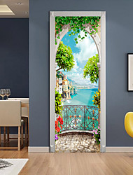 cheap -3D 2pcs Self-adhesive Creative Door Stickers Living Room Bedroom Diy Decorative Home Waterproof Wall Stickers 77x200cm