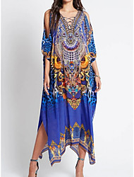 cheap -Women's Swimsuit Cover Up Beach Top Swimsuit Lace up Slim Tribal Abstract Blue Swimwear T shirt Dress Tunic V Wire Bathing Suits New Fashion Sexy
