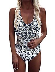 cheap -Women's One Piece Romper Swimsuit Open Back Blue print Swimwear Bathing Suits Bohemian Sweet / Beach
