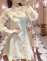 cheap -A-Line Flirty Chinese Style Graduation Cocktail Party Dress Stand Collar Long Sleeve Knee Length Lace with Pleats 2021
