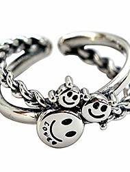 cheap -woent retro smiley face rings silver adjustable opening ceremony rings jewelry for women and men