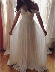 cheap -A-Line Wedding Dresses Off Shoulder Sweep / Brush Train Chiffon Cap Sleeve Simple Beach with Pleats 2021
