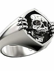 cheap -deyatt vintage punk gothic skull men's ring 925 sterling silver plated skeleton head biker rings for men (7)
