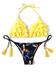 cheap -verochic women's cute adjustable straps bird print tassel tie flounce bikini set (yellow, large)