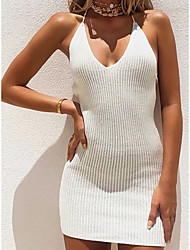 cheap -Women's Strap Dress Short Mini Dress White Black Sleeveless Solid Color Backless Summer Halter Neck Elegant 2021 S M L XL
