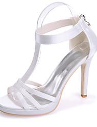 cheap -Women's Wedding Shoes Stiletto Heel Open Toe Wedding Sandals Satin Solid Colored White Black Purple