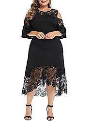 cheap -Women's Plus Size Cold Shoulder Bodycon Pencil Cocktail Party Midi Dress with Belt Black XL