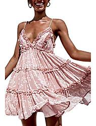 cheap -gracevines women's summer v neck floral print mini dress ruffle layer backless skater swing dress pink
