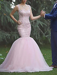 cheap -Mermaid / Trumpet Wedding Dresses Bateau Neck Sweep / Brush Train Lace Tulle Sleeveless Country Romantic Luxurious with Appliques 2021