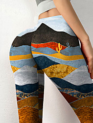 cheap -Women's Colorful Fashion Comfort Leisure Sports Weekend Leggings Pants Geometric Graphic Prints Landscape Ankle-Length Sporty Elastic Waist Print Yellow