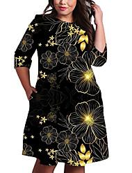 cheap -Women's Plus Size Dress Shift Dress Knee Length Dress 3/4 Length Sleeve Floral Graphic Color Block Print Casual Fall Spring Summer Blue Gold Silver XL XXL 3XL 4XL 5XL