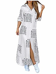 cheap -Women's Shirt Dress Denim Blue White blue Picture color 1 White letters Tie-dye black Camouflage Long Sleeve Solid Color Fall Winter Casual / Daily 2021 S M L XL XXL