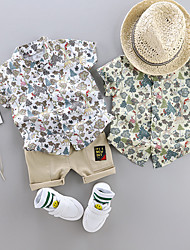 cheap -Toddler Boys' Shirt & Shorts Clothing Set 2 Piece Short Sleeve White Green White Floral Print Patchwork Print Casual Holiday Basic Boho Regular Above Knee 1-4 Years