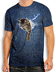 cheap -Men's Tees T shirt 3D Print Cat Graphic Prints Animal Print Short Sleeve Daily Tops Basic Casual Blue