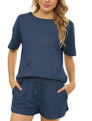 cheap -2021 spring and summer amazon europe and america cross-border short-sleeved two-piece threaded sports round neck casual home service solid color female