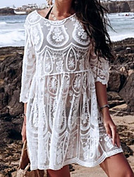 cheap -Women's Swimsuit Cover Up Beach Top Swimsuit Embroidery Hole Solid Color Geometric White Swimwear T shirt Dress Tunic Plunge Bathing Suits New Fashion Sexy