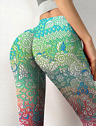 cheap -Women's Colorful Fashion Comfort Leisure Sports Weekend Leggings Pants Gradient Paisley Graphic Prints Ankle-Length Sporty Elastic Waist Print Green