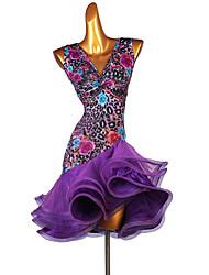 cheap -Latin Dance Dress Printing Women's Performance Sleeveless Organza Ice Silk