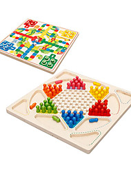 cheap -Ludo Board Game & Chinese Checkers 2 in 1 Natural Wooden Board Flying Chess Family Game for Adults and Kids