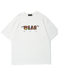 cheap -Men's Unisex T shirt Hot Stamping Graphic Prints Bear Plus Size Print Short Sleeve Casual Tops 100% Cotton Basic Casual Fashion White
