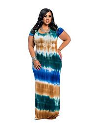 cheap -Women's Plus Size Rainbow Mumu Short Sleeve Spring Maxi long Dress A Line Dress Red Orange