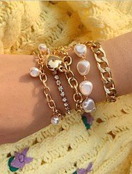 cheap -5pcs Women's Pearl Bracelet Layered Vintage Theme Stylish European Sweet Rhinestone Bracelet Jewelry Gold / Silver For Anniversary Gift Date Birthday Festival
