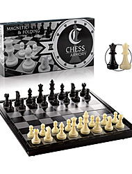 """cheap -Chess Armory Travel Chess Set 9.5"""" x 9.5"""" Plastic Chess Set with Folding Magnetic Chess Board Staunton Chess Pieces Storage Box & 2 Extra Queens - Portable Chess Set Board Game"""