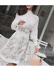 cheap -Two Piece Vintage Floral Homecoming Cocktail Party Dress High Neck Long Sleeve Short / Mini Chiffon with Sequin Embroidery 2021